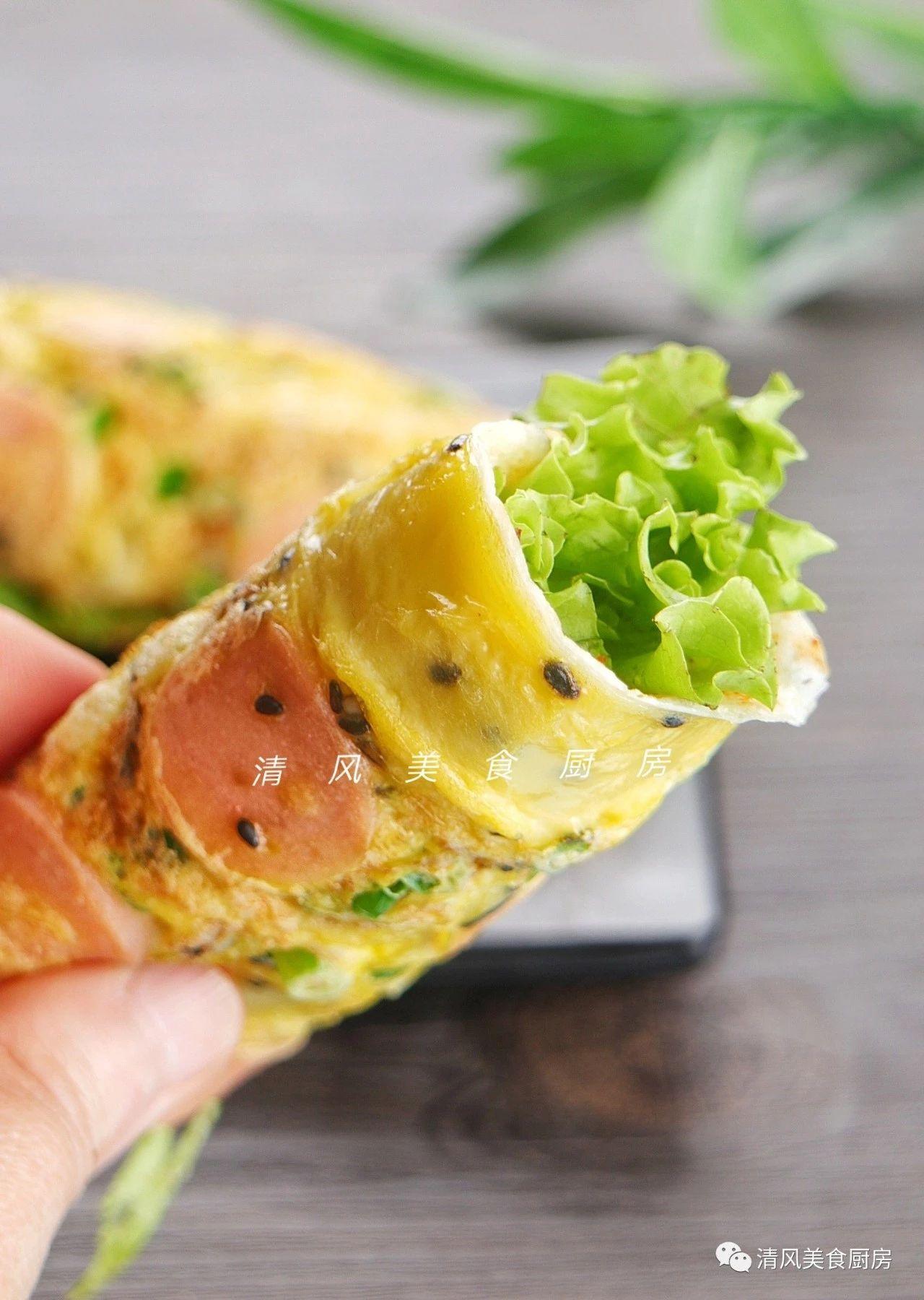 早餐鸡蛋饼这样做,松软可口,满屋飘香,真是既新鲜又好吃!