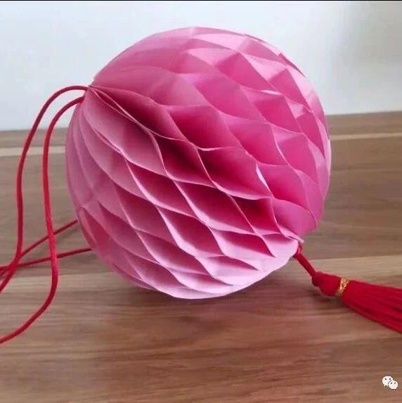 精致蜂窝球灯笼,原来制作是这么的简单