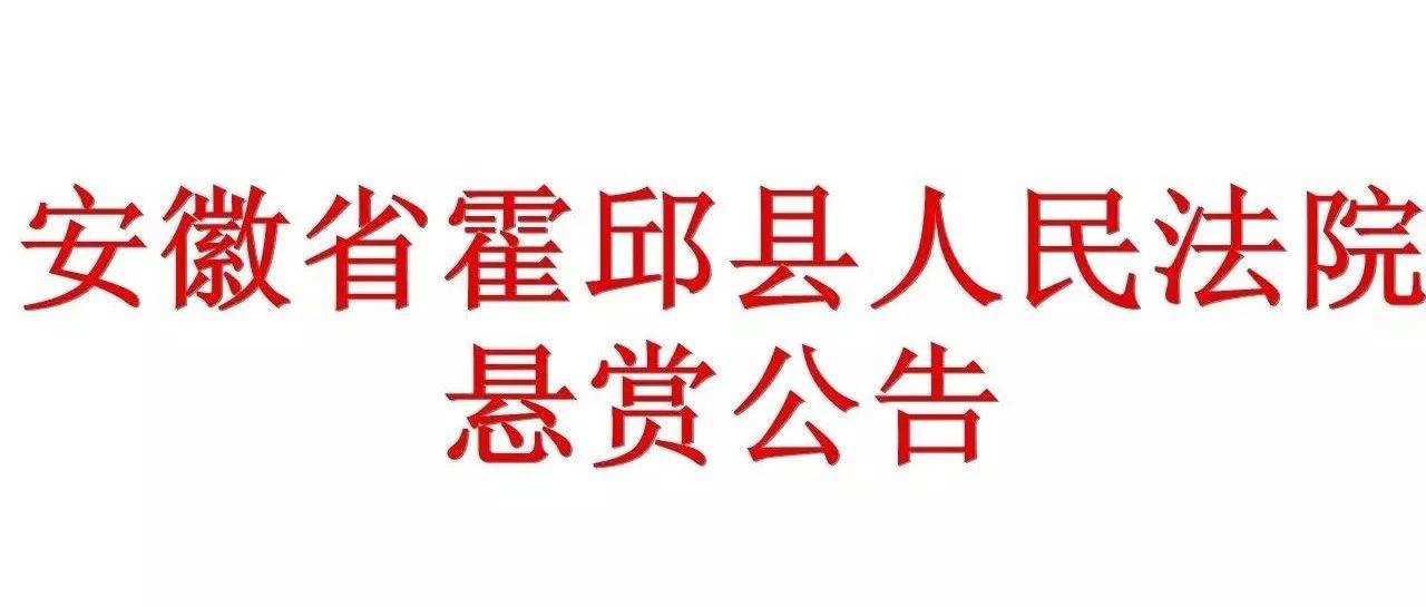 安徽省霍邱县人民法院悬赏公告(十八)