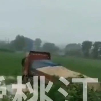 """惊险!桃江一货车刹车失灵,""""飞""""田里去了...."""