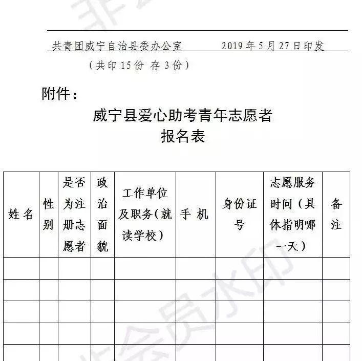 """威宁县""""助力高考""""志愿者?#24515;?#21862;!"""