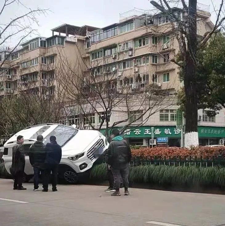 现场实拍!丽水一司机把车开进了绿化带!神操作,怎么开的车?