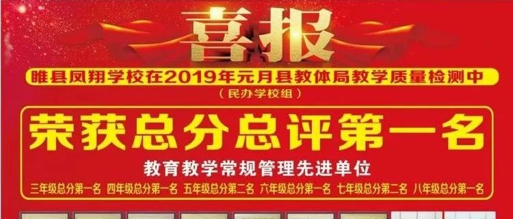 喜报!睢县凤翔学校获得2019年县民办学校教学质量检测第一名