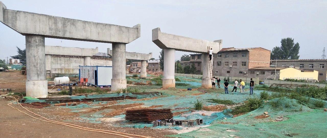 磁五仓路大桥24根立柱全部完成