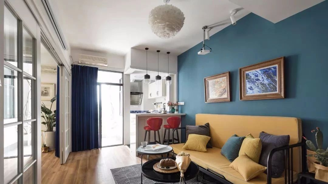 46�O重彩混搭一居室,美得很有艺术感