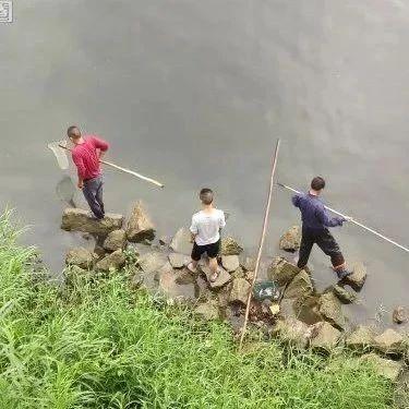 """揭西一湖边草地有少年在垂钓,大溪掀起""""捞鱼""""热,下一波暴雨已在路上……"""