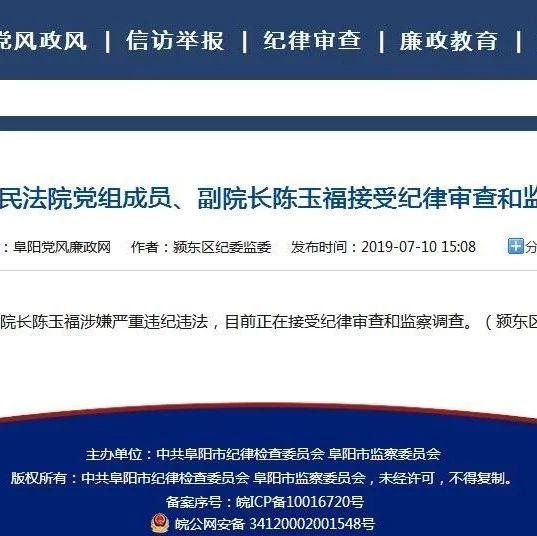 阜南县人民法院党组成员、副院长陈玉福接受纪律审查和监察调查