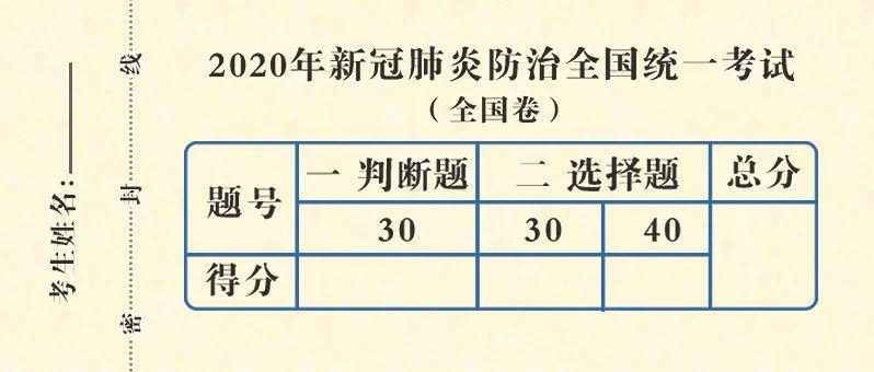 2020新冠肺炎防治统一考试(全国卷)