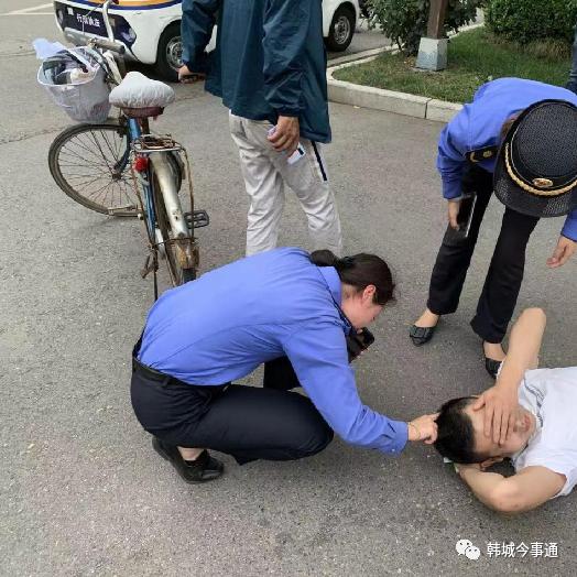 韩城:执勤巡查中偶遇交通事故!紧急救援暖人心!