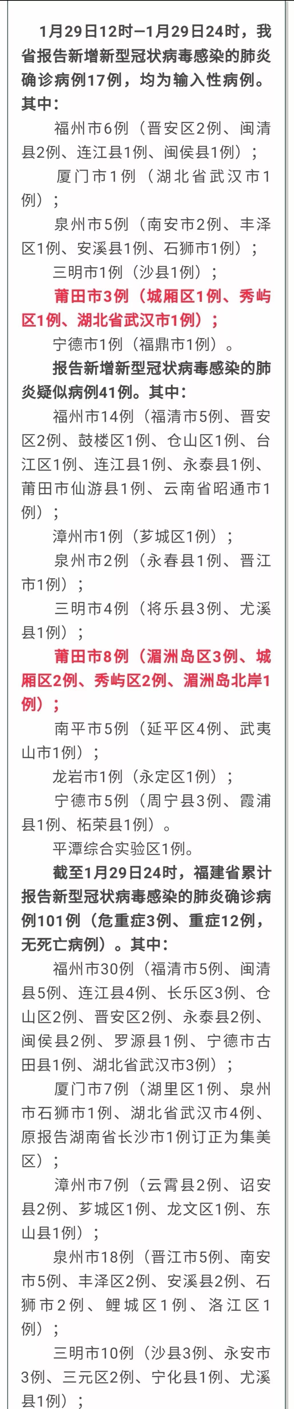 截止1月30日!莆田新增8例疑似病例,确诊17例!
