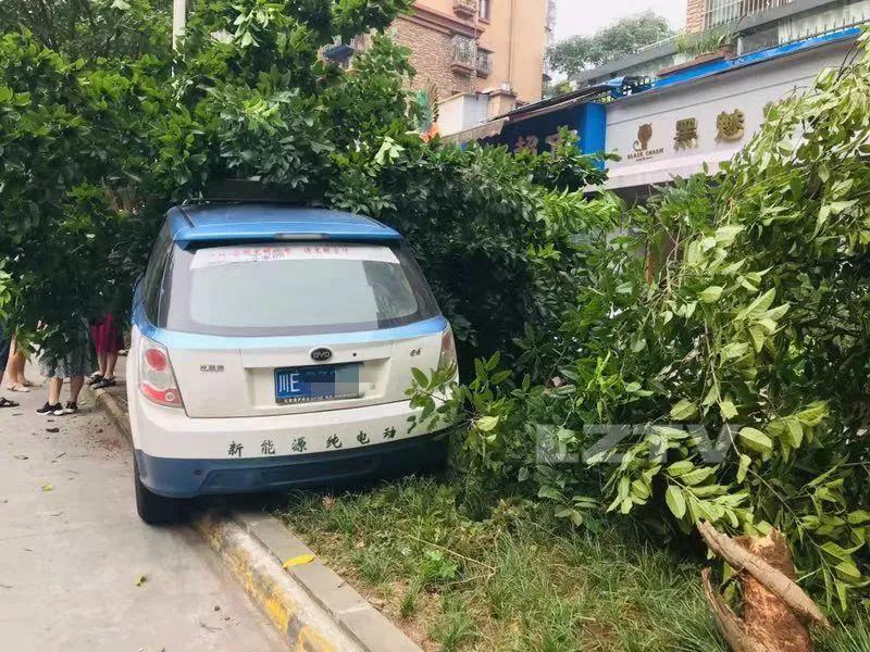 乘客拉拽司机?泸州一出租车冲上人行道!