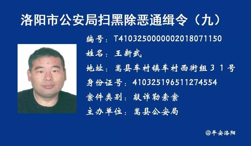 洛阳市公安局扫黑除恶通缉令第9期,伊川多人上榜