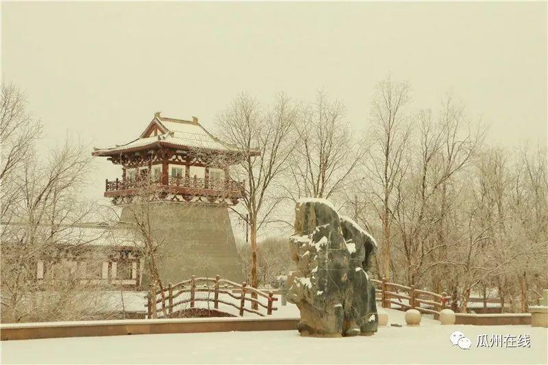 """瓜州雪景实拍""""千里冰封"""
