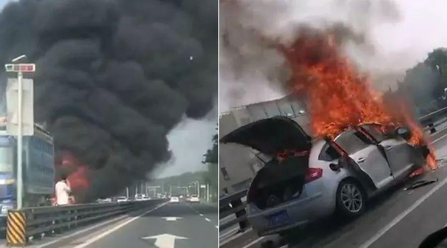 �}城�l生一起交通事故,汽�被��成空��