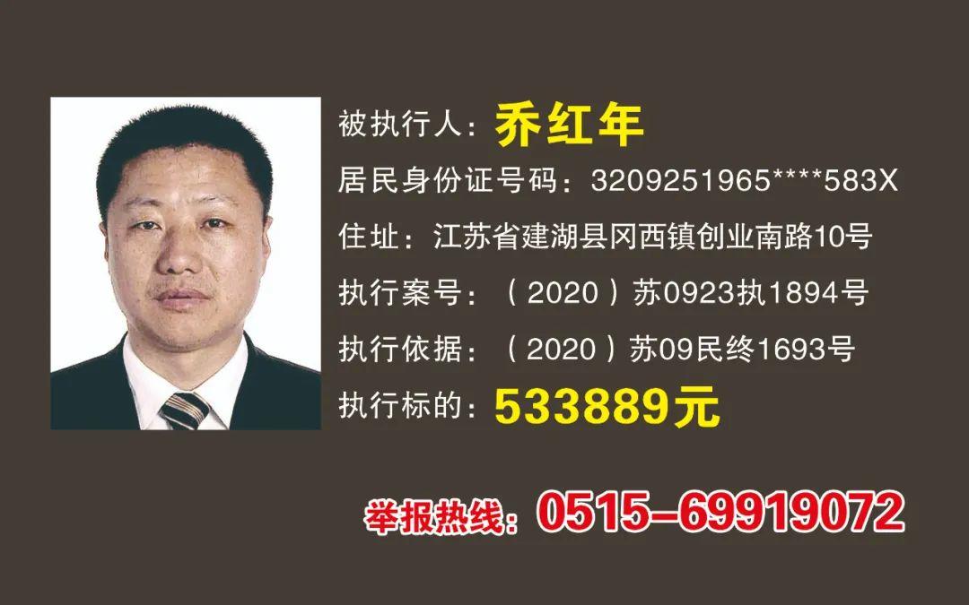 【曝光】阜宁法院2021年最新失信被执行人名单,这次7个人!