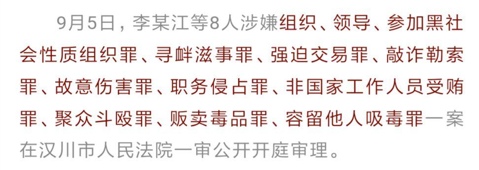 �吆诔��害蛐⒏�h川法院一��公�_庭��李某江等8人涉黑社��性�|�M�案