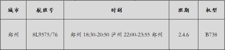 第21条航线 泸州云龙机场开通郑州航线