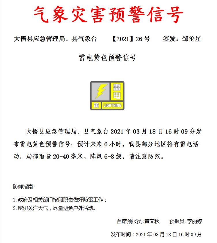大悟县发布雷电黄色预警信号