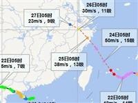 """""""查帕卡""""23日将移入北部湾并趋向海南岛西北部沿海,较强风雨天继续……"""