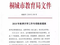 桐城教育局关于2019年秋季开学工作专项检查通报
