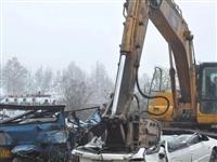 122全国交通安全日高唐交警大队集中销毁报废车