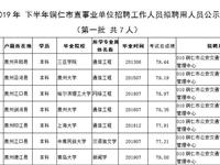 2019年下半年铜仁市市直事业单位公开招聘工作人员拟聘用人员公示