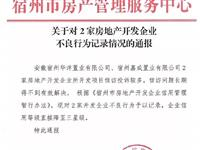 宿州2家房产企业信用降级