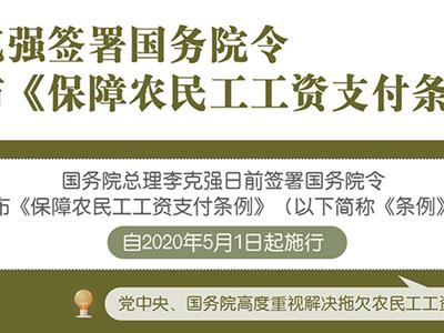 2020年5月1日起 不按月发放农民工工资将罚款