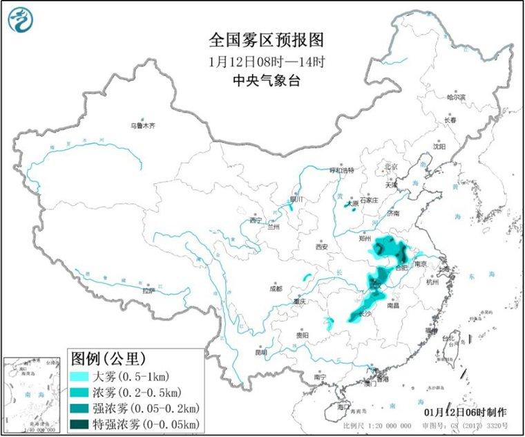 大�F�S色�A警!安徽湖北湖南等局地有能�度不足50米特���忪F!