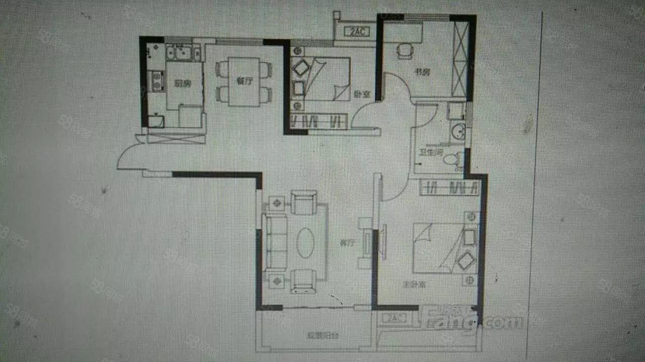 大学南路泰宏建业90平通透小三房,税满,送车位