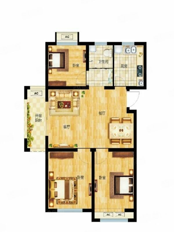 中建森林上郡毛坯房2楼89平小三房