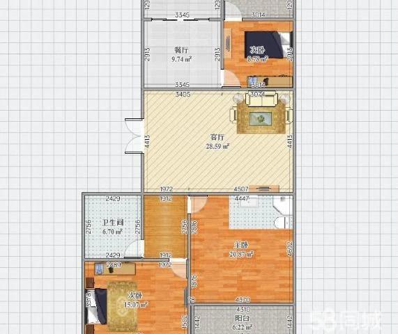 急郦景阳光新亚广场旁3房2厅2卫单价5千多烫金地段