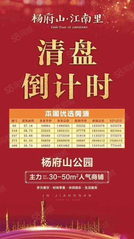 (免代理)抢!单价2万起置信.江南里杨府山公园里面一手餐饮