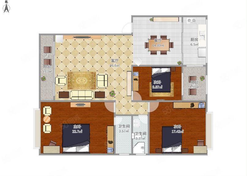 新城区精装三房两卫出租家具配齐,户型通透,楼层好