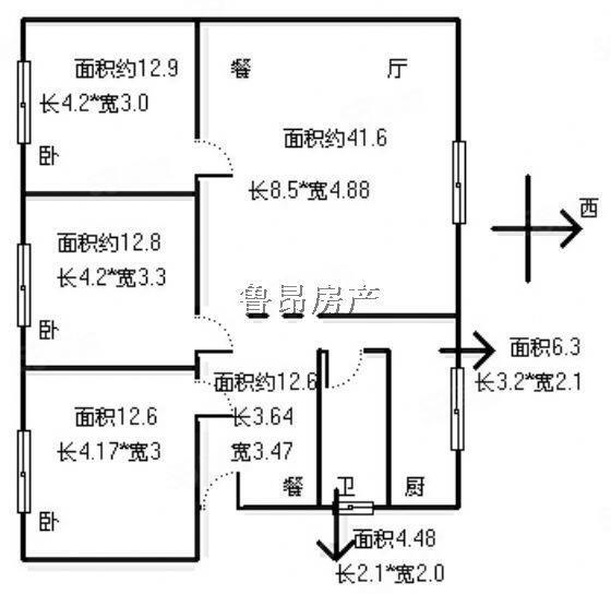 南津桥中装三室出租只租14000