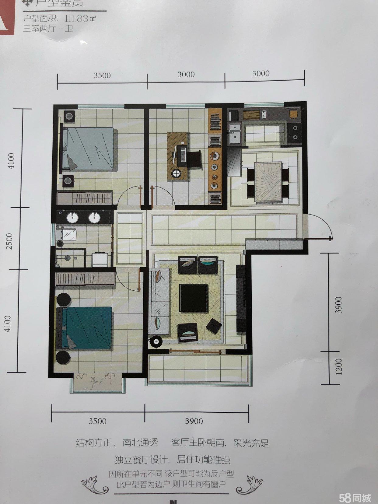 天镇九岸花城3室2厅1卫现房价可议包改名