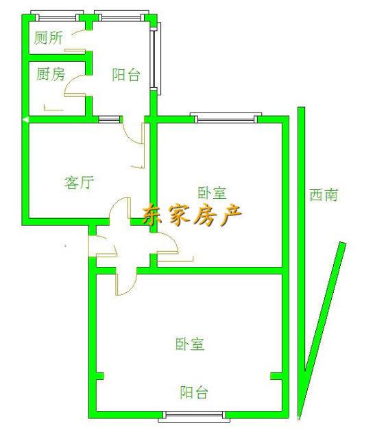 黄金位置经典三楼简单小两室带部分家具出脚方便