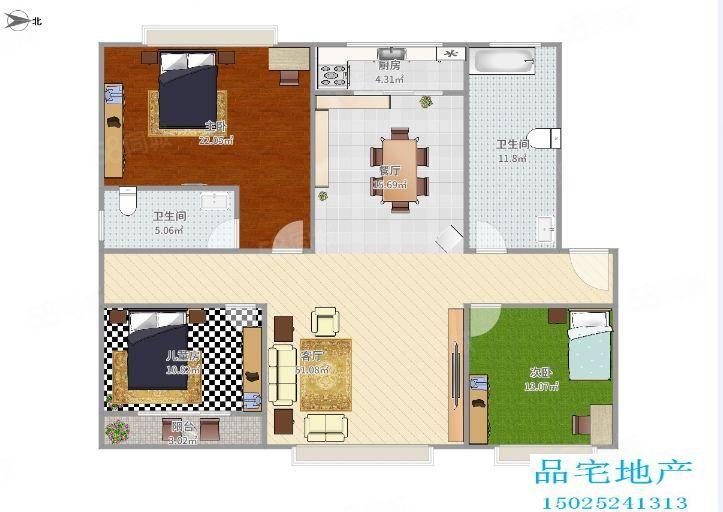 景山园900元3室2厅2卫精装修,家具电器齐全,有匙即