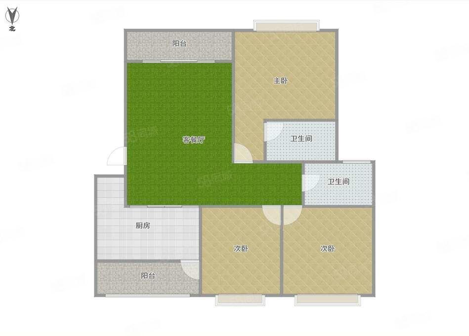 山水城121平精装三房,租金1200,有钥匙南北朝向
