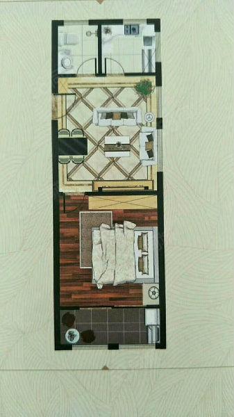 皖公国际3楼带大平台1室1厅1厨1卫可改名按揭