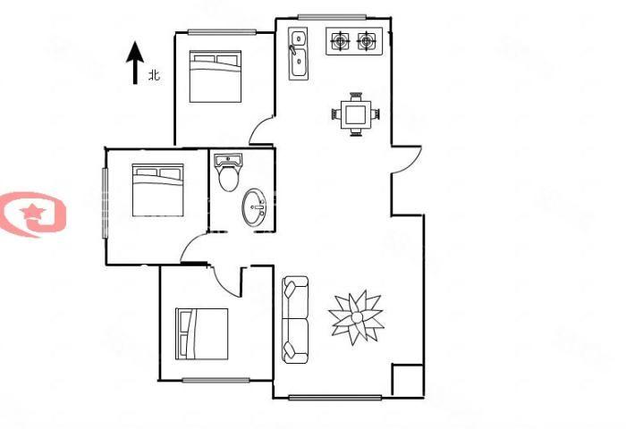 帝泊湾二期57万3室2厅1卫毛坯好楼层好位置位
