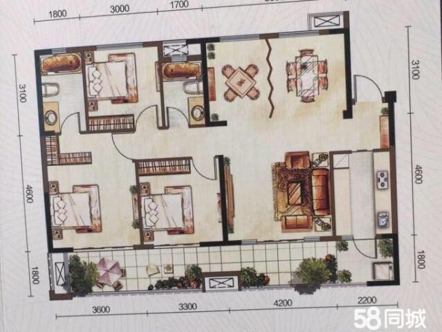 金桥新区天鹅湖4室2厅2卫房东直售