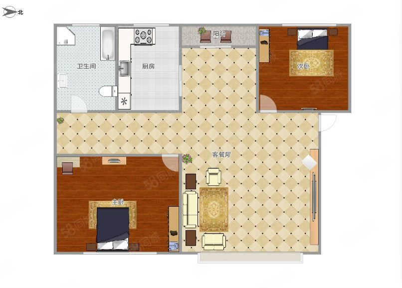 教育小区666元2室2厅1卫超值,随时看房