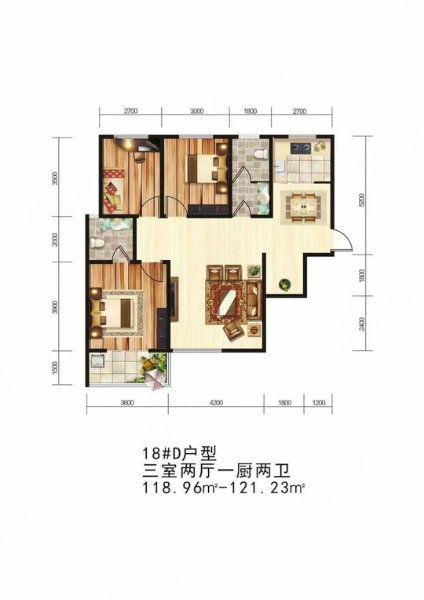 创家新房+世纪大道颐和名居时尚全明三居室出售