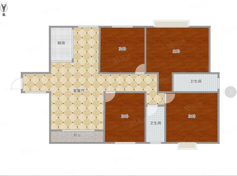 凯旋帝景136平4房南北朝向,户型方正,产权清晰,有钥匙。
