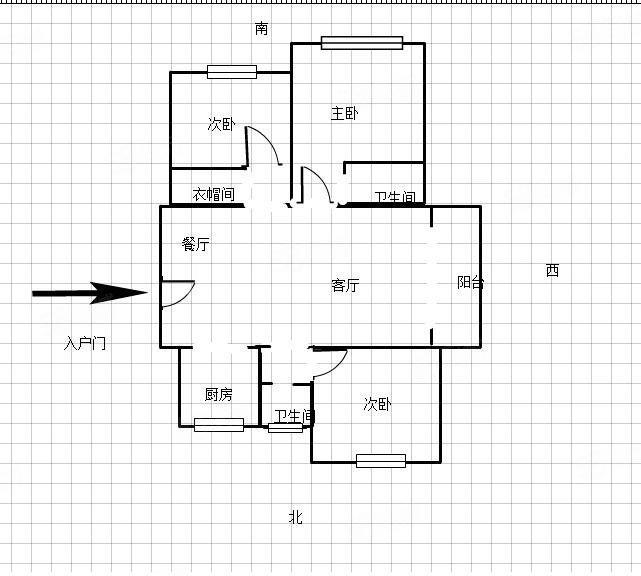 中央广场三室边户110平米好楼层毛坯