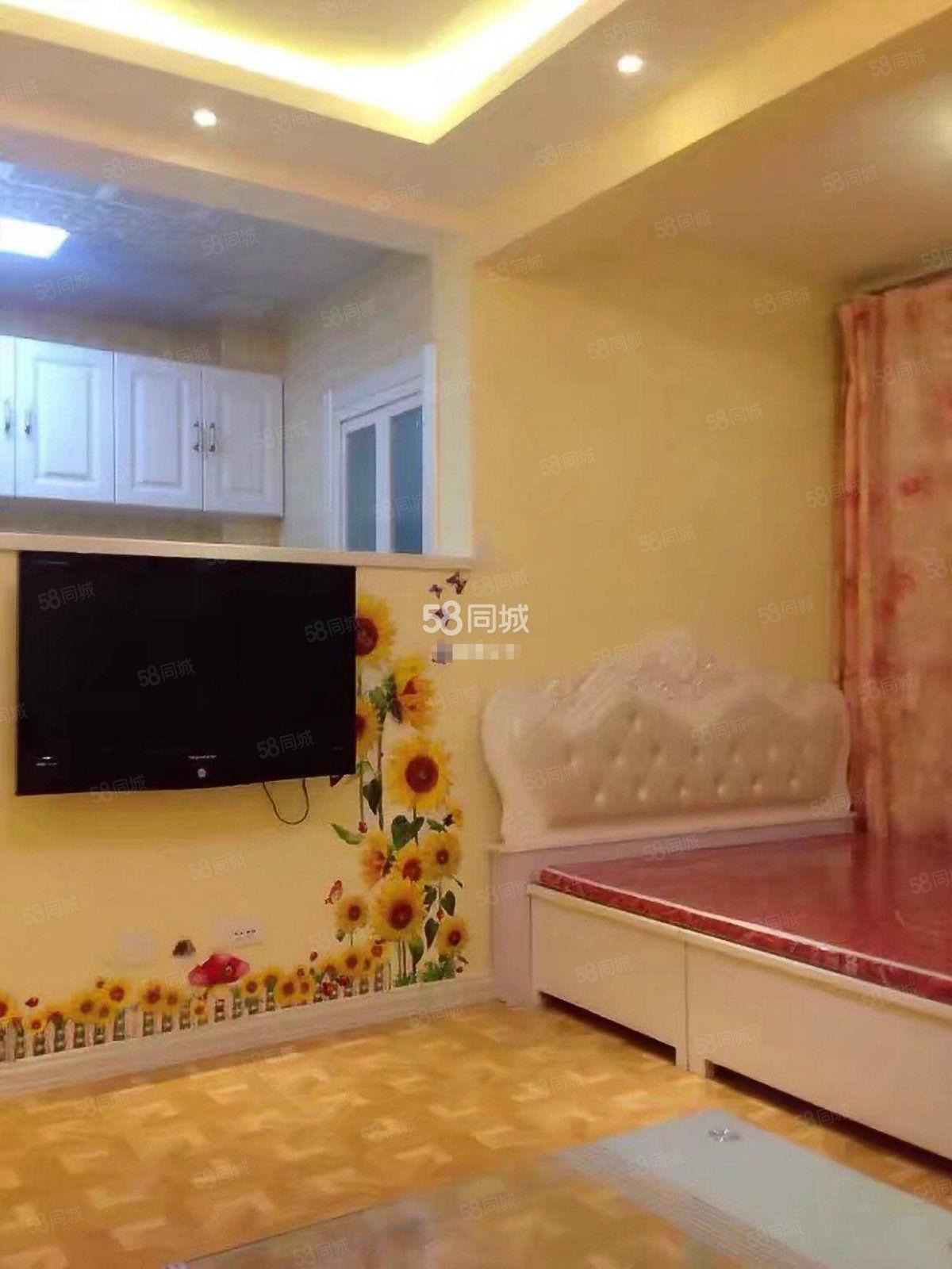 香漫花都,55平精装1室,家具家电齐全,年租1万8包取暖物业