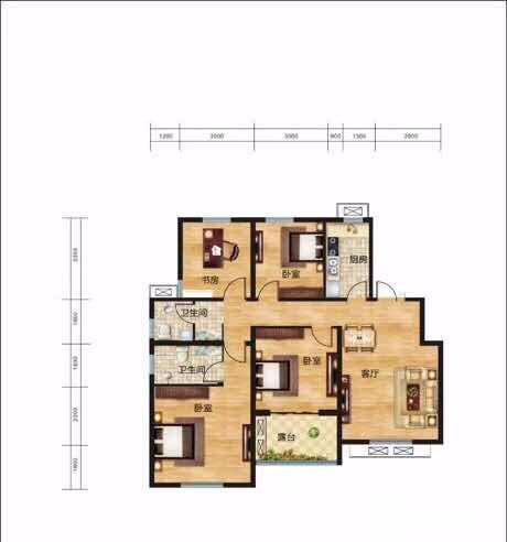 航空港中建森林上郡4室2厅2卫122平米