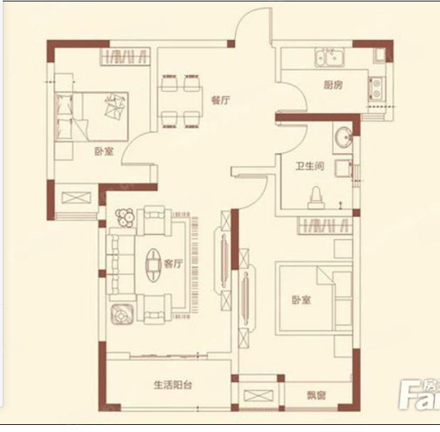 永威南樾一期毛坯两房88.83平方90万地铁口学.区房