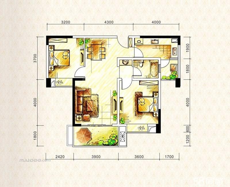 润园90平米满2年,3室1厅1卫含大金中央空调,地暖精装出售